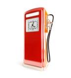 Gammal bensinfyllning på en vit bakgrund Arkivfoton