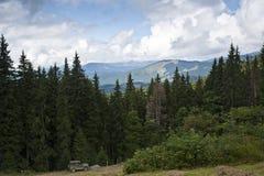 Gammal bil nära prydlig skog i de Carpathian bergen Fotografering för Bildbyråer