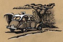 gammal bil Teckning Royaltyfria Bilder