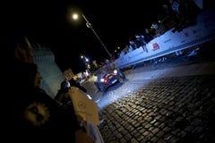 Gammal bil under Mille Miglia i Rome Arkivfoton