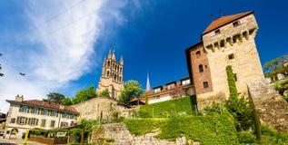 Gammal biskops slott och domkyrka av Lausanne Royaltyfri Bild