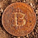 Gammal bitcoin på jordning arkivfoto