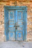 gammal blå dörr Royaltyfria Foton