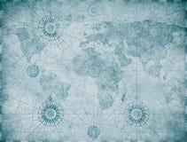 Gammal blå medeltida nautisk världskarta royaltyfri illustrationer