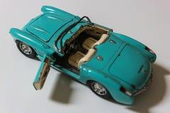 Gammal blå mini- bil, Cabriolet Arkivbild