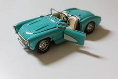 Gammal blå mini- bil, Cabriolet Arkivfoto