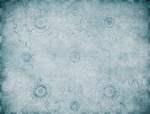 Gammal blå nautisk översiktsbakgrund vektor illustrationer