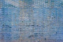 Gammal blå textur för bakgrund för tegelstenvägg royaltyfri foto