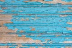 Gammal blå trätabell med grunge, abstrakt texturbakgrund Arkivfoto