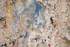 Gammal blå vägg med skada, sprickor och vit skalande målarfärg med röda och svarta fläckar Textur för grov yttersida arkivbild