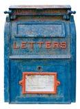 gammal blå brevlåda Arkivbilder