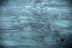 Gammal blå wood plankabakgrund Arkivfoton