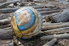 Gammal boj som tvättas upp på kust Royaltyfria Bilder