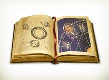 Gammal bok, astrologivektorsymbol stock illustrationer