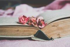 Gammal bok och torkade blommor royaltyfria foton