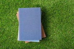 Gammal bok på grönt gräs Arkivfoto