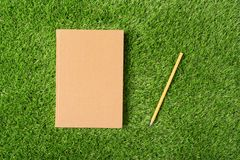 Gammal bok på grönt gräs Royaltyfri Bild