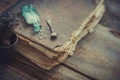 Gammal bok, tappningmortel av medicinska örter, liten medicinflaska av homeopatiska små kulor och sked Arkivbild