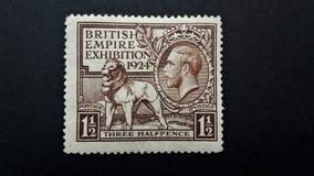 Gammal brittisk portostämpel BRITTISK VÄLDE EXHIBION 1924 royaltyfri bild