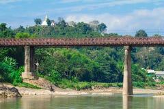 Gammal bro av Luang prabang Arkivbild