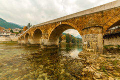 Gammal bro i Konjic Royaltyfria Bilder