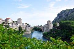 Gammal bro i Mostar, Bosnien-Herzegowina Arkivbild