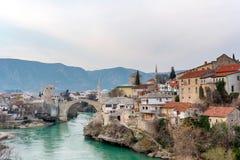 Gammal bro i Mostar Bosnien och Hercegovina Royaltyfri Fotografi