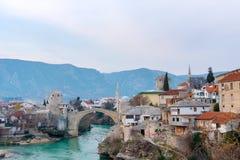 Gammal bro i Mostar Bosnien och Hercegovina Royaltyfri Foto