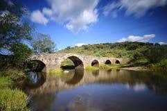 Gammal bro i Torrejon El Rubio i Caceres Royaltyfri Fotografi