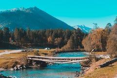 Gammal bro ?ver floden i bygden royaltyfria foton