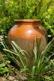 Gammal brun leratillbringare på gräsplanträdgården med metallkedjan Royaltyfri Bild