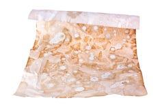 Gammal brun pappers- rulle på det vita bakgrundsslutet upp, antik dokumentdesign för snirkel, kopieringsutrymme, historisk fornti arkivfoto