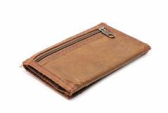 Gammal brun plånbok Arkivbild