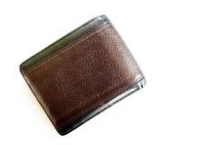 Gammal brun plånbok som isoleras på vit bakgrund Royaltyfri Fotografi