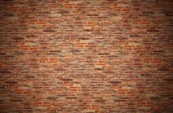 Gammal brunt, apelsin, vägg för röd tegelsten för grunge för textur, bakgrund Arkivbilder