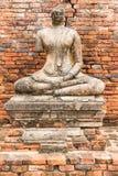 Gammal Buddhastaty på Wat Chaiwatthanaram Ayutthaya, Thailand Royaltyfri Fotografi