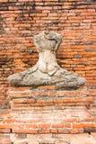 Gammal Buddhastaty på Wat Chaiwatthanaram Ayutthaya, Thailand Royaltyfri Bild