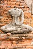 Gammal Buddhastaty på Wat Chaiwatthanaram Ayutthaya, Thailand Royaltyfria Bilder