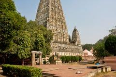 Gammal buddistMahabodhi tempel (Great Awakening) som byggs i 3rd århundrade B C Arkivbild