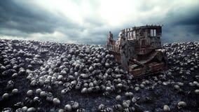 Gammal bulldozer och hög av skallar Apokalyps- och helvetebegrepp framförande 3d vektor illustrationer