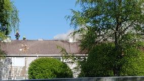 Gammal byggnad för brand Fotografering för Bildbyråer