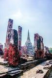 Gammal byggnad i den Ayutthaya staden av Thailand royaltyfri fotografi