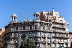 Gammal byggnad i Girona, Spanien Fotografering för Bildbyråer