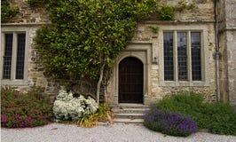 Gammal byggnadsbakdörr som omges av växter Royaltyfria Bilder