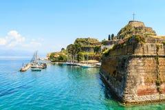 Gammal bysantinsk fästning i Korfu Royaltyfria Bilder