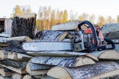 Gammal chainsaw och m?ttband som ligger p? en vedtrave av det asp- vedtr?t royaltyfria foton