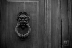 Gammal Clapper på trägammal dörr royaltyfria bilder