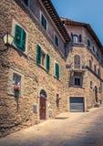 Gammal Cortona stad i Tuscany Arkivfoton