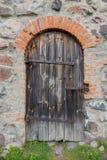Gammal dörr i slottet Royaltyfria Bilder