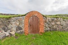 Gammal dörr i slottväggen Royaltyfria Bilder